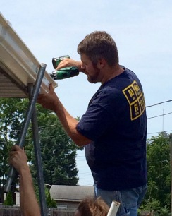 Thanks to Ben Brubaker for help with the truck and installing the downspout